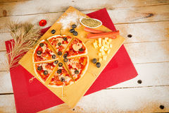 Christmas pizza Royalty Free Stock Photo