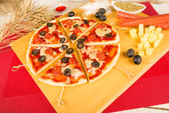 Christmas pizza Stock Photos