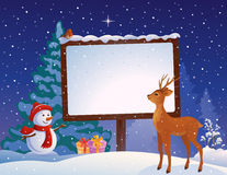 Christmas placard. Illustration of Christmas snowman, deer and snowy placard with copy space Royalty Free Stock Photos