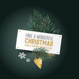 Christmas Place Card and Decorations. Festive Pine leaves and Decor.Christmas tree leaves with a label sign and seasonal decorations - vector illustration stock illustration
