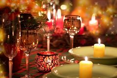 Christmas place setting royalty free stock image