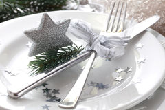 Christmas place setting. In silver with star Stock Image
