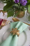 Christmas place setting aquamarine colors and gold Royalty Free Stock Photos