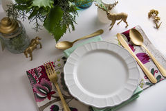 Christmas place setting, aquamarine colors Royalty Free Stock Image