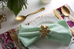 christmas place setting,card and aquamarine colors and gold Stock Photos
