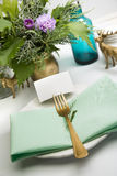 Christmas place setting,card, aquamarine colors and gold Royalty Free Stock Photography