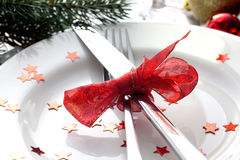Christmas place setting with cutlery. Christmas place setting for christmas Stock Image