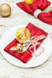 Christmas place  setting. Holiday Decorations Royalty Free Stock Images