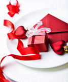 Christmas place setting and a little present Royalty Free Stock Photo