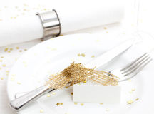Christmas place setting with name tag. And cutlery Royalty Free Stock Images