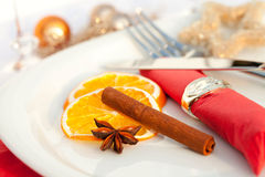 Christmas place setting for xmas Royalty Free Stock Photos