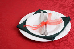 Christmas place settings Stock Photo