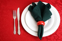 Christmas place settings with knife and fork Stock Images