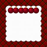 Christmas Plaid Background with Ornaments. For your message or invitation with copy-space Stock Images