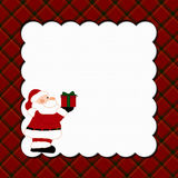 Christmas Plaid Background with Santa Stock Images