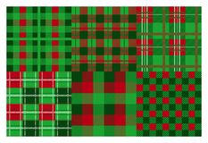 Christmas plaid. Seamless flannel ornamental pattern, Xmas green and red background collection. Vector greeting and