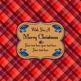 Christmas plaid tartan pattern card, red Stock Image