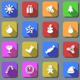 Christmas plain icons Stock Image