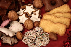 Christmas plate. With nuts and gingerbread Royalty Free Stock Photo