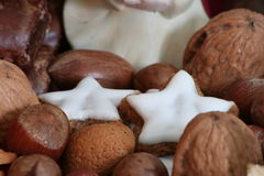 Christmas plate. With nuts and gingerbread Royalty Free Stock Image