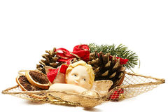 Christmas plate arrangement with angel figurine Stock Images