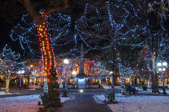 Christmas in the Plaza. Christmas lights at The Plaza in Santa Fe, New Mexico Stock Photography