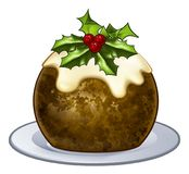 Christmas Plum Pudding Cartoon Royalty Free Stock Photo