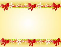 Christmas Poinsettia Bows Border. A background illustration featuring a top and bottom border decorated with poinsettia designs, ribbon, and red bows Stock Photography