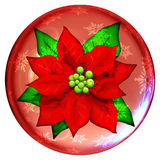 Christmas Poinsettia Crystal Globe Icon. A Poinsettia Crystal Globe Icone Stock Photography