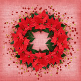 Christmas poinsettia flowers wreath with confetti Stock Photo