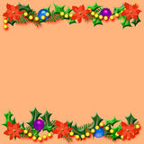 Christmas poinsettia frame Royalty Free Stock Images