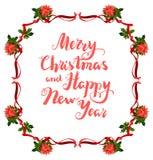 Christmas poinsettia frame Royalty Free Stock Photos