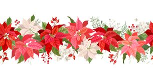 Free Christmas Poinsettia Vector Garland Border, Watercolor Floral Winter Season Frame, Holiday Seamless Background Royalty Free Stock Photography - 196291617