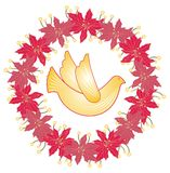 Christmas poinsettia wreath. Illustration of a decorative Christmas wreath with dove Stock Images