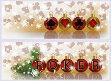 Christmas poker banners. Vector illustration Royalty Free Stock Photography