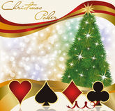 Christmas poker casino background. Vector illustration Stock Photos