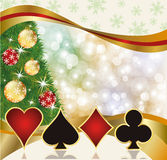 Christmas poker casino card. Vector illustration Stock Photography