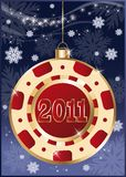 Christmas poker chip 2011 new year.  Stock Photos