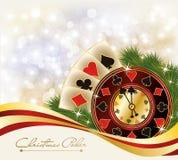 Christmas Poker Greeting Casino Banner Royalty Free Stock Image