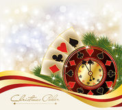 Christmas Poker greeting casino banner Royalty Free Stock Image