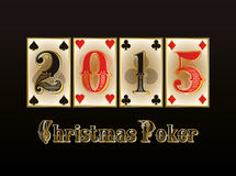 Christmas Poker. Happy 2015 new year banner. Vector illustration royalty free illustration