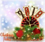 Christmas Poker, New 2019 Year invitation card royalty free illustration