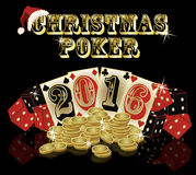 Christmas poker postcard 2016 New Year, vector Royalty Free Stock Photos