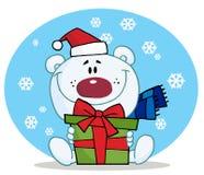 Christmas polar bear. Thoughtful christmas polar bear holding a gift in the snow vector illustration