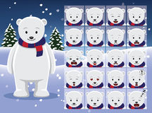 Christmas Polar Bear Cartoon Emotion faces Vector Illustration Royalty Free Stock Images