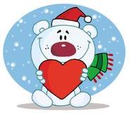 Christmas polar bear holding a heart. Caring christmas polar bear holding a heart in the snow royalty free illustration