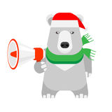 Christmas polar bear holds megaphone Stock Photo