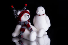 Christmas polar bear and a penguin Stock Photos