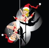 Christmas pole dancers Stock Photo