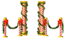 Christmas poles. Illustration of decorative Christmas poles, isolated on a white background Stock Photography
